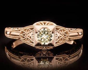 Art Deco Engagement Ring 0.21 Carat Fancy Champagne SI1-SI2 Round Center Diamond Milgrain Engraved Cocktail Ring 14K Rose Gold 9973 3981