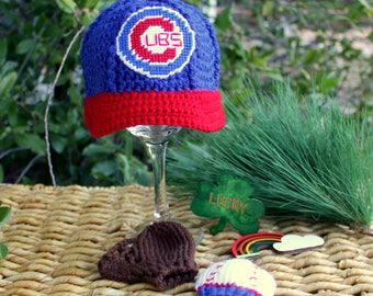 Baseball Hat with Glove and Ball MITTENS, , Chicago CUBS baby hat, Baby baseball Mittens (Handmade by me and not affiliated with the MLB)