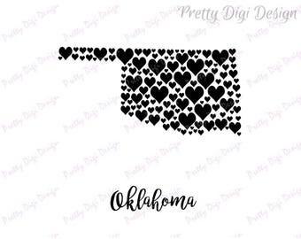 Oklahoma digital heart map jpg, png, pdf, eps, Oklahoma wall art, Oklahoma shape with hearts, Oklahoma home state art, Oklahoma digital art