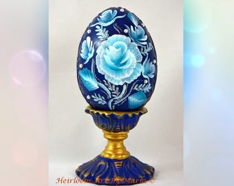 Rose victorian easter eggeaster decorations easter egg with easter egg royal blue decorative easter gift roseantique gold filigree pearl negle Choice Image