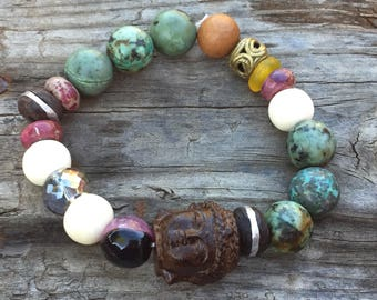 Boho Buddha Zen Yoga Spiritual Healing African Turquoise Vintage Coin Silver Wood Agate Gemstones Recycled Tribal Trade Glass Stack Bracelet