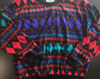 NOS Vintage 80s Sweater Adult XL Retro Zack Morris Style Argyle Abstract Geometric Multi Color Long Sleeve Donnkenny Classics Made in USA