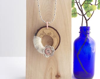 Natural wood & felt pendant - wood statement necklace - eco jewelry - mixed media jewelry