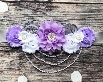 Gray Purple White Pearl Maternity Sash - Maternity Sash - Belly Sash - Maternity Belly Sash - Maternity Sash Girl - Baby Shower Sash