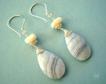 Long Sky Blue Lace Agate and White Sapphire, Wire Wrapped in Sterling Silver Earrings
