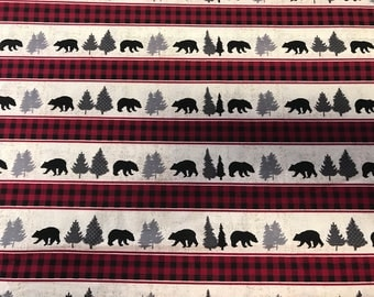 Red buffalo and bears  sheet or changing pad cover, buffalo plaid, red and black, hunting, baby boy, lumberjack, woodland nursery