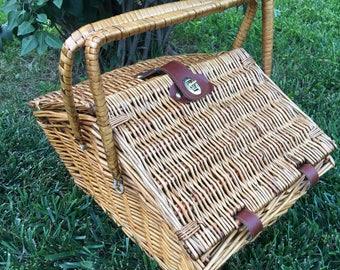 Vintage Large Double Slant Lid Hinged Wicker Picnic Basket