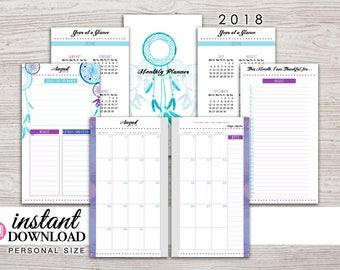 Planner Printable - 2018 Monthly Inserts - Filofax Personal - Kikki K Medium - 3.75 x 6.75 in. - Design: Chasing Dreams