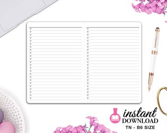 Printable TN Inserts - B6 Size / Foxy Fix #5 - Lists - Travelers Notebook