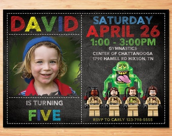 Gostbusters Birthday Invitation , GhostBuster Birthday Invitation ,Boy Birthday Invitation ,Lego Gostbusters Invitation