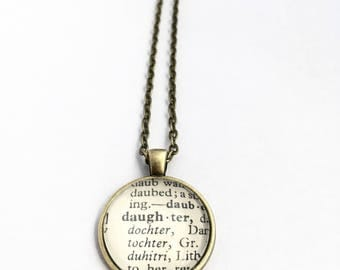 DAUGHTER Vintage Dictionary Word Pendant
