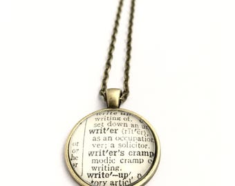 WRITER Vintage Dictionary Word Pendant