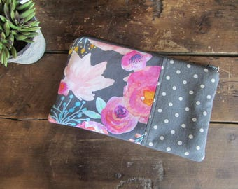 Make-up or Pencil Bag, Pink Watercolor Floral with Gray Dots, Zipper Storage Bag, Fabric Make Up Bag, Long Rectangle Make Up Bag