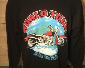 Vintage 1990's World Tour Motorcycle Harley Davidson Indian Sweatshirt Very Cool
