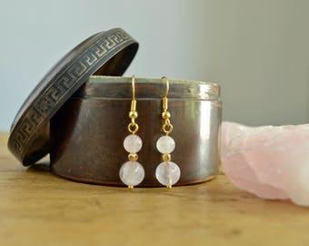 Blush Pink Earrings - Rose Quartz Earrings - Pastel Jewellery - Gemstone Earrings - Romantic Gift - Gift For Her