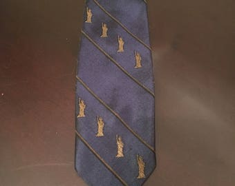 Vintage 1960s Statue of Liberty Mens Necktie Hand Tailored in Japan