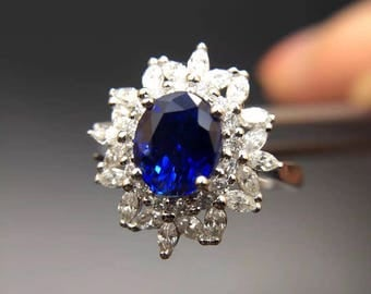 2.1 Carat Blue Sapphire Engagement Ring Royal Blue Sapphire Ring