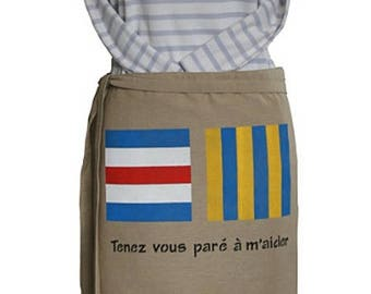 """Apron men or women inspired by the sea, canvas, man or woman """"get ready to help me"""""""