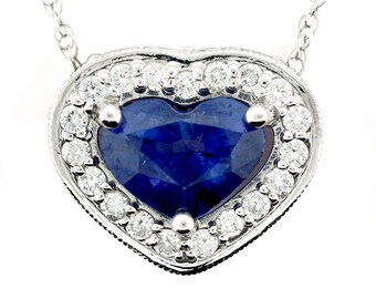14k White Gold Sapphire and Diamond Pendant w/Chain (Hand Created)