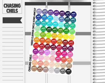 Video Clapper Circle Icons #MCS17 Premium Matte Planner Stickers