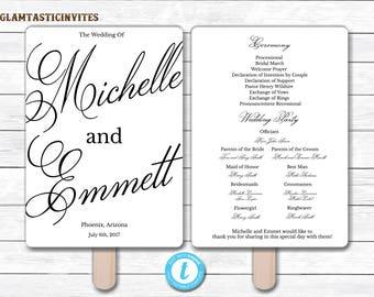 Wedding Fan Program Template, Black Wedding Program Template, Ceremony Wedding Program, Wedding Fan, Wedding Template, YOU EDIT, Elegant,DIY