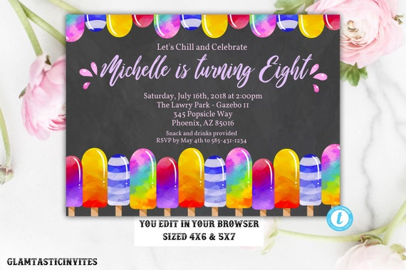Glitter Popsicle Birthday Invitation Template Instant Download - 5x7 birthday invitation template