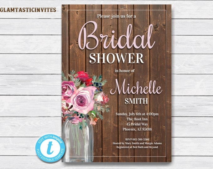 Rustic Bridal Shower Invitation, Rustic Invitation, Mason Jar invitation, Rose Invitation, Bridal Shower Invite, Rustic Template, YOU EDIT