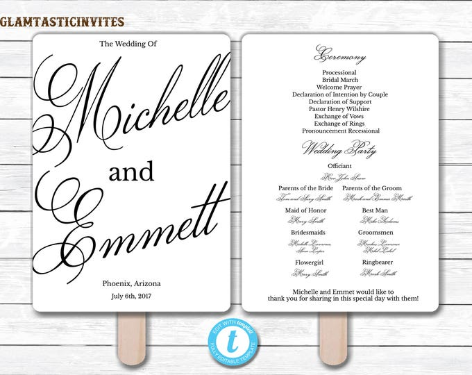 Wedding Fan Program Template, Black Wedding Program Template, Ceremony Wedding Program, Wedding Fan, Wedding Template, YOU EDIT, Elegant,DIY