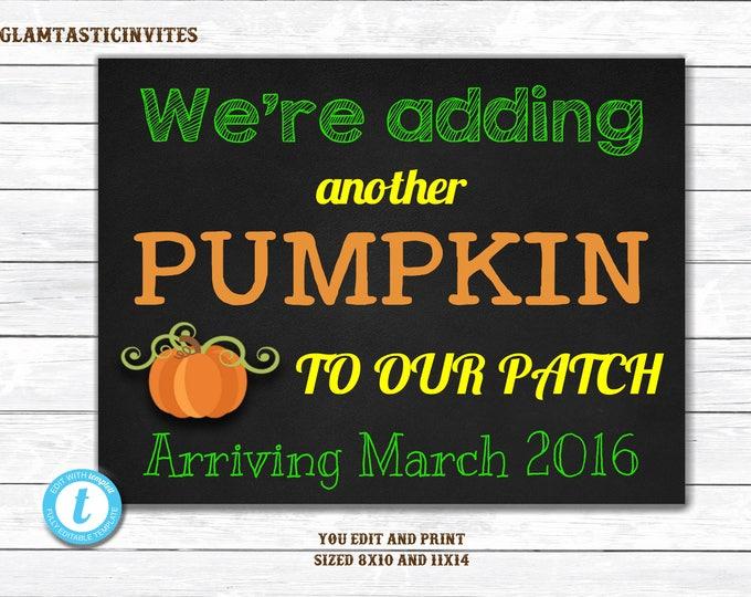 Fall Baby Announcement, Pumpkin Patch, Baby Reveal Pregnancy Announcement Chalkboard Halloween Banner Sign Prop, Pregnancy Template, DIY