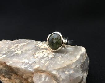 Safar Faceted Moldavite and Sterling Silver Ring (4-9)