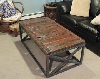Industrial Reclaimed Barnwood Coffee Table