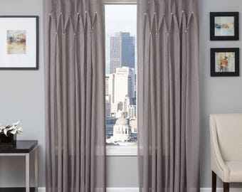 Softline Enchantment Crystals 84-Inch Sheer Back Tab Window Curtain Panel Silver
