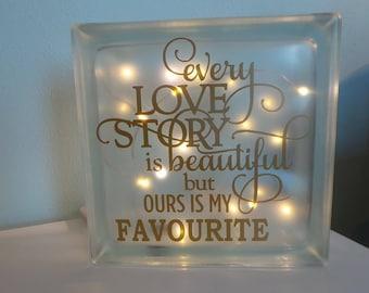 Love Story. LED Light Glass Block.  Night  Light. Fairy Lights.