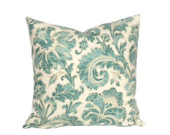 Cottage Pillow, Aqua Blue Pillow Tan Throw Pillow Cushion Cover French Country Floral Decor Decorative Accent Pillow Farmhouse Lumbar Pillow