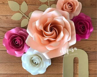 Initial 5 pc Paper Flower Set, Nursery Decor, Bedroom, Customize your colors