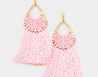 Pink Woven Thread Teardrop Tassel Earrings