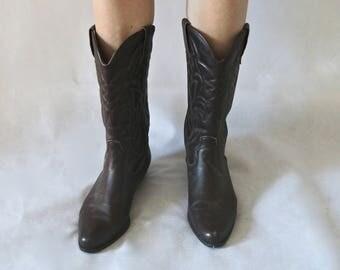 Vintage COWBOY BOOTS Italian Leather 70s Brown Size 38 (Carvela Kurt Geiger)