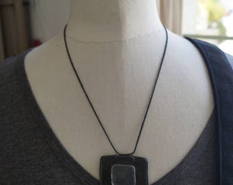 Square slate necklace