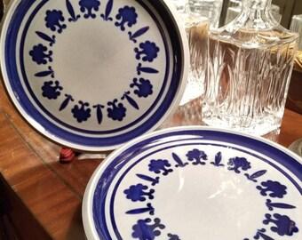 Set of 5 Cobalt Blue and Gray Bosch Baltic Belgium 10 Inch Dinner Plates