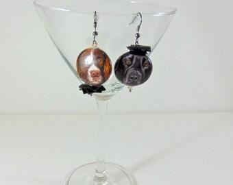 Earrings, eardrop, dogs, inner tube, boucles à oreilles, orecchini pendenti, tondi.