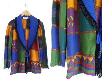 90s Southwestern Jacket Lightweight Tribal Jacket with Fringe Western Festival Jacket Shawl Collar Velvet Fringed Womens Jacket Small/Medium
