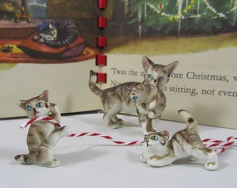 """Vintage """"Cat"""" Miniature """"Tabby"""" """"Family"""" """"Bone China"""" Mother Cat & Kittens Collectible """"Fairy Garden"""" Miniatures Art Decor Gift"""