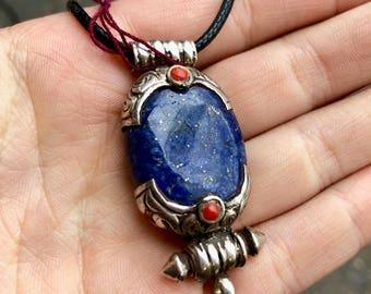 Tibetan Lapis Lazuli set in Sterling Silver