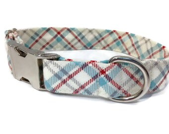 Red blue cream and Grey Tartan dog Collar,  dog collar, tartan dog collar , boy dog collar, 4th july dog collar, patriotic dog collar