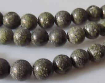 """Green 6mm Round Natural Serpentine Gemstone Beads (15"""" Strand)"""