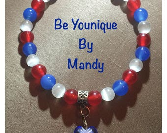 Red white and blue beaded bracelet with heart
