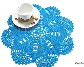 Large Turquoise crochet doily, Centrino grande turchese all'uncinetto