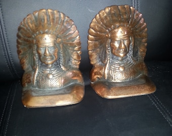 Native American Bookends made of copper which details an Indian Chief.