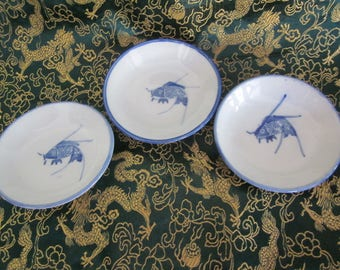 Chinese Blue Cobalt Koi Fish Soy Sauce bowls Exclellent Hand Painted Details Vtg Chinese Markings