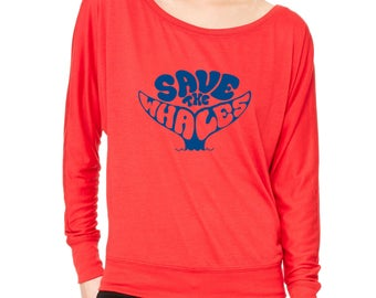 Flowy ShirtSave The Whales Long-Sleeve Stop Global Warming Flowy Shirt